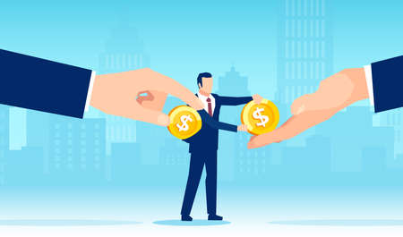 Vector of a businessman earning money and paying debts