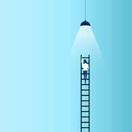 Vector of a businessman climbing up a ladder with a lamp above 矢量图像