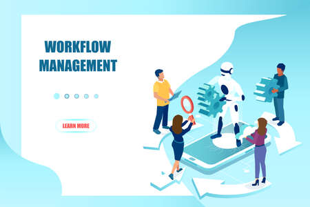 Workflow optimization and management in business with assistance of artificial intelligence concept
