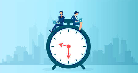 Vector of a businessman and businesswoman using  laptop sitting on a clock working long hours 矢量图像