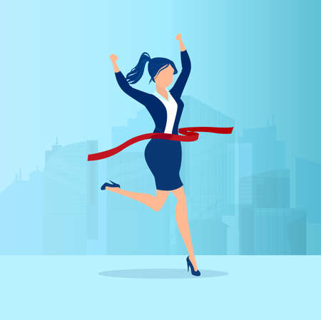 Vector of a businesswoman crossing finish line on a cityscape background
