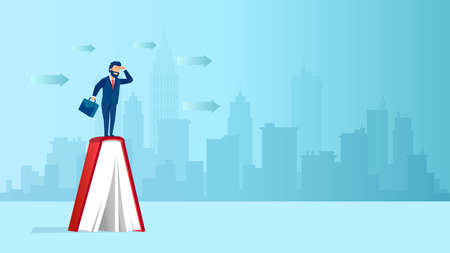 Vector of a businessman standing on a book looking into future