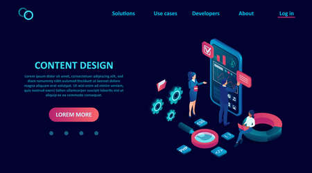UI design concept. Vector of software developers programming seo for the smartphone