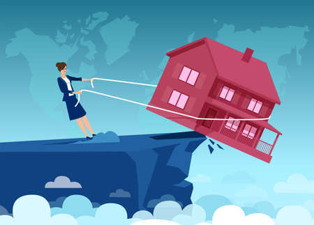 Vector of a businesswoman struggling with mortgage monthly payments