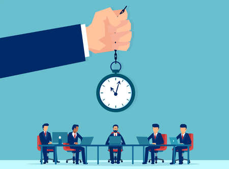 Vector of office workers working overtime being controlled by a supervisor with clock