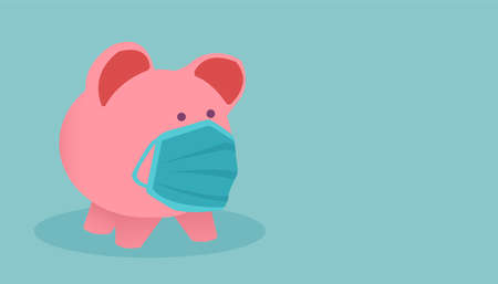 Vector of a piggy bank wearing face mask isolated on blue background.