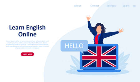 Vector web page template of online courses and language school