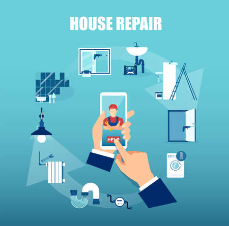 Vector of a business man using mobile app to request professional home repair services 矢量图像