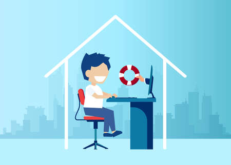 Vector of a boy student staying at home studying online being assisted by a hand with life buoy