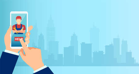 Vector of a business man using mobile app to request professional home repair services on a cityscape background