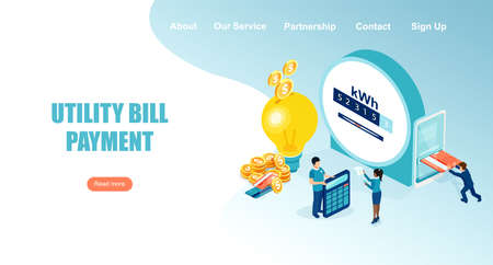 Vector landing page of people paying utility, electricity bills online Vecteurs