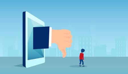 Cyber bullying in social media concept. Vector of a sad boy receiving negative feedback online