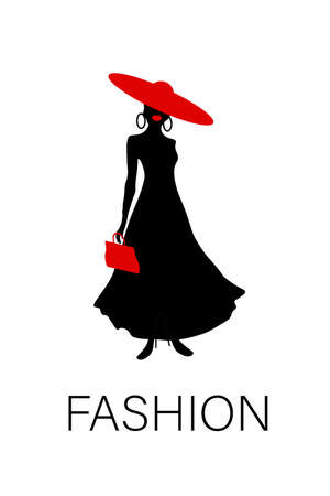 Vector silhouette of an elegant fashion woman with a red hat on white background