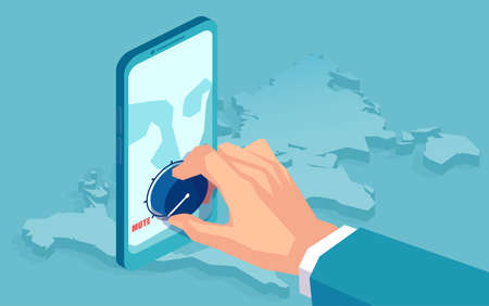 Vector of a business man hand muting volume down on a smartphone closing down social media account of an user 일러스트