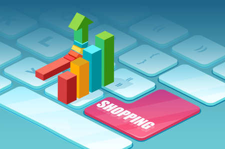 Vector of a bar chart on a laptop keyboard as symbol of growing online sales