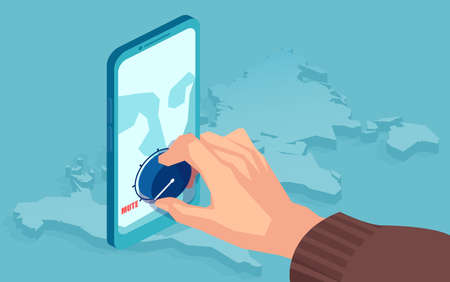 Vector of a man muting volume down on a smartphone closing down social media account of an user Illustration