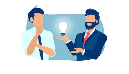 Vector of a business men brainstorming new idea Vetores