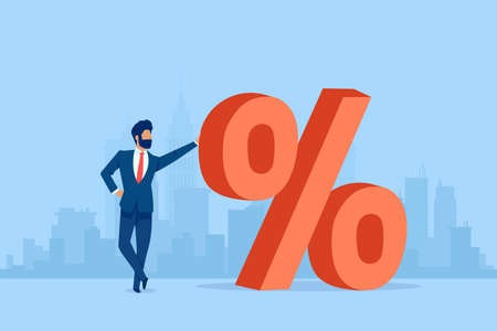 Vector of a businessman standing next to a red big percentage symbol on a cityscape background