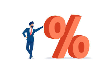 Vector of a businessman standing next to a red big percentage symbol on a white background Illustration