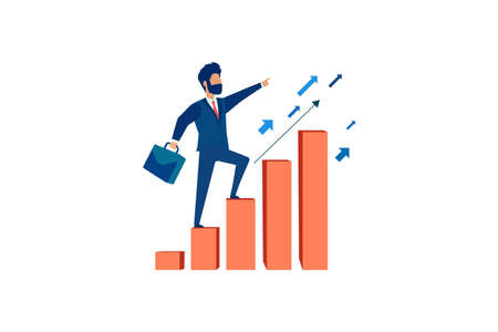 Vector of an ambitious businessman climbing up graph columns