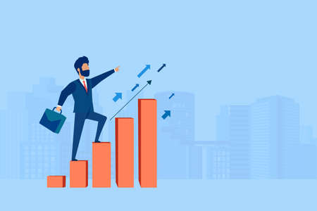 Vector of an ambitious businessman climbing up graph columns on a cityscape background