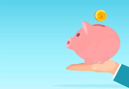 Vector of a businessman hand holding pink piggy bank with dollar coin deposit