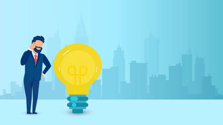 Vector of a thinking businessman with light bulb standing on a cityscape background Illusztráció