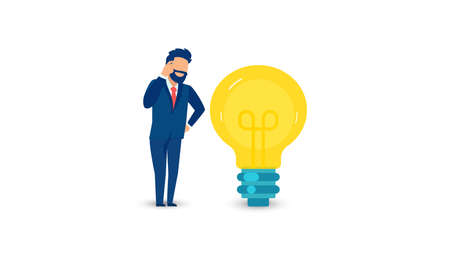 Vector of a thinking businessman with with a bright idea light bulb isolated on white background