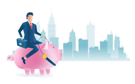 Vector of a businessman riding pink piggy bank on a cityscape background