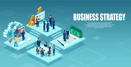 Vector of an open space office with business people working as a team to provide best customer service