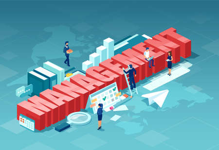 Management concept. Isometric vector of business people managing successful company