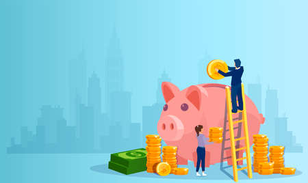 Vector of a man and a woman depositing money in a piggy bank on a cityscape background