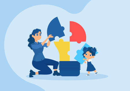 Vector of a happy child and a mother assembling together a light bulb made of puzzle pieces