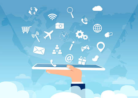Vector of a hand holding tablet computer with multiple social media app icons above clouds Illustration