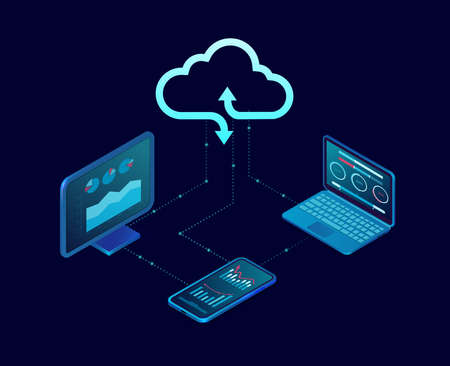 Vector of a desktop computer and mobile devices connected to cloud server service Illustration