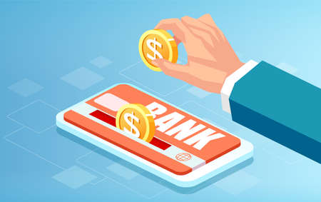 Vector of a businessman making an online deposit to his bank account Illustration