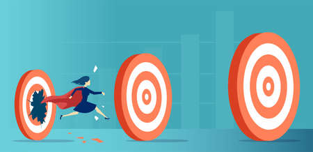 Vector of a super hero business woman breaking through her career targets and goals