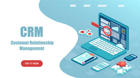 Vector website template of a laptop with customer, client relationship management software system.
