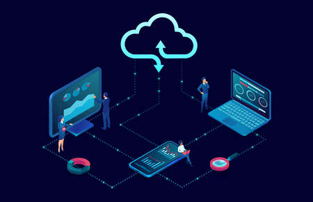 Vector business people using desktop computer and mobile devices connected to cloud server service