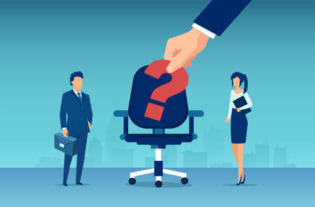 Vector of a businessman and a business woman competing for a vacant job opening