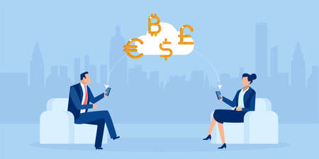 Vector of business people trading currencies online using mobile app