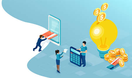 Profitable business ideas concept. Vector of people earning money