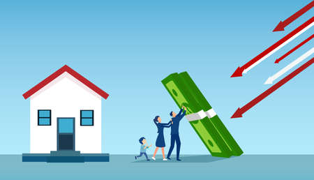 Vector of a young family withstanding  real estate market and economic crisis