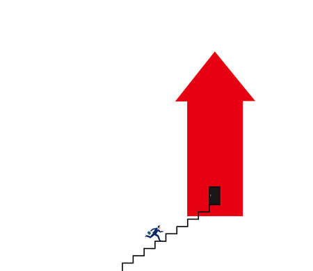 Vector of a businessman climbing up steps to career success