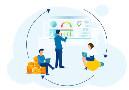 Vector of a group of people brainstorming an online business idea and earning money