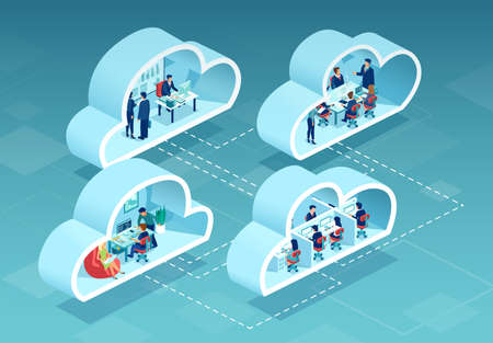 Vector of business people working in offices using cloud data storage service Ilustrace