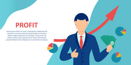 Vector of a business man happy with growing profits Illustration
