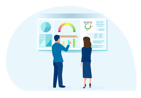 Vector of a businessman and businesswoman analyzing financial data
