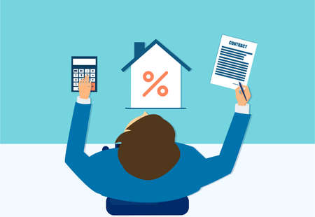 Vector of a business man with mortgage calculator signing a real estate contract Ilustrace