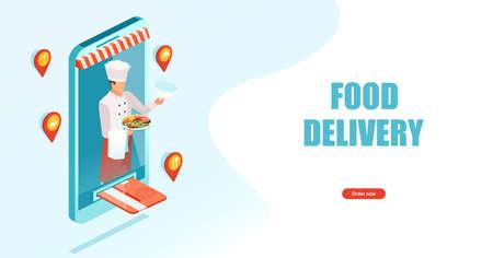 Order food online banner concept. Mobile app template